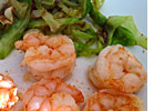 Prawns and stir-fried cabbage